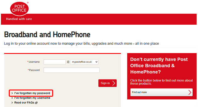 Post Office Broadband Forgot Password