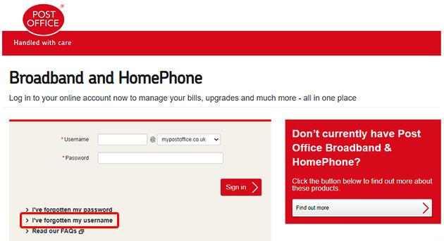 Post Office Broadband Forgot Username