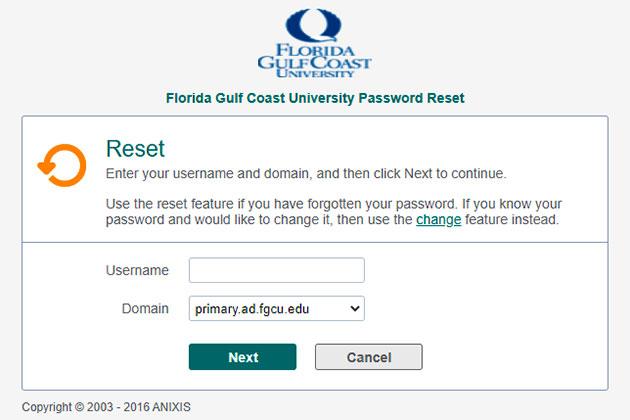 FGCU Canvas Reset Password 2
