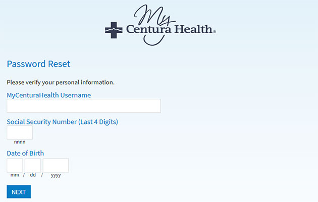 MyCenturaHealth Forgot Password 2