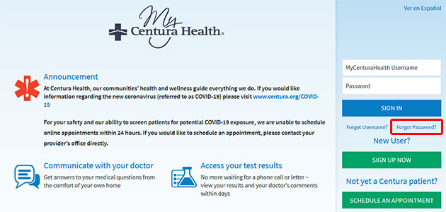 MyCenturaHealth Forgot Password