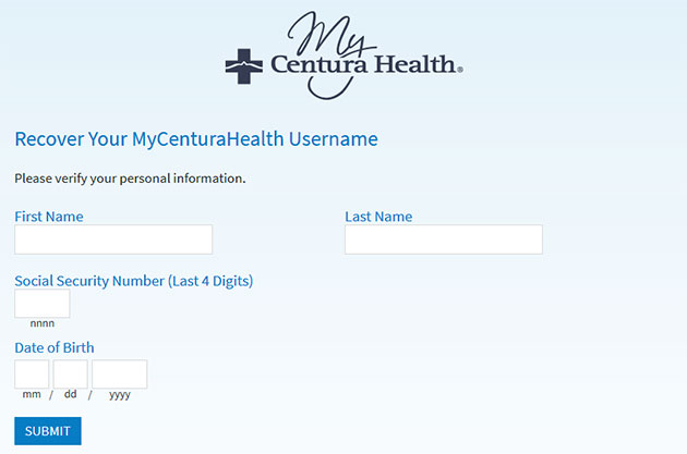 MyCenturaHealth Forgot Username 2