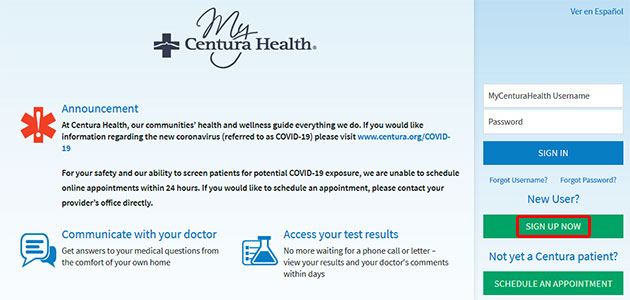MyCenturaHealth Portal Register
