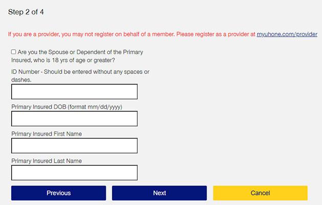 MyUHOne Registration 2
