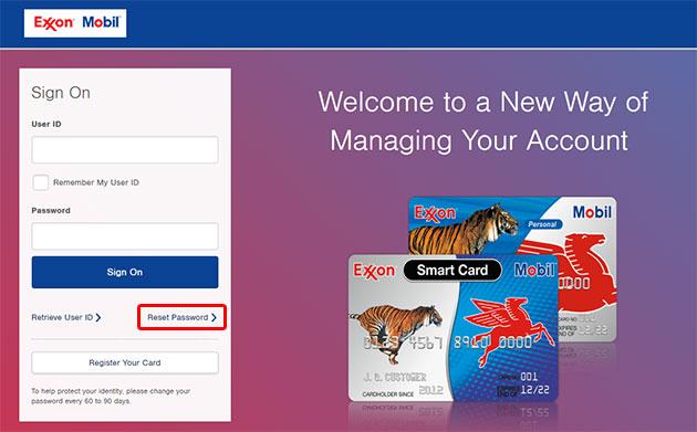 ExxonMobil Account Online Reset Password