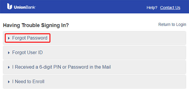 Union Bank Forgot Password 2