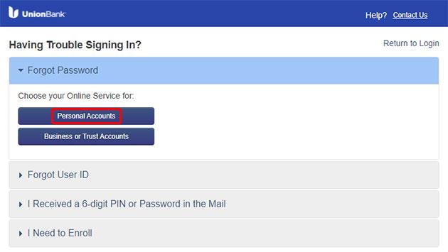 Union Bank Forgot Password 3