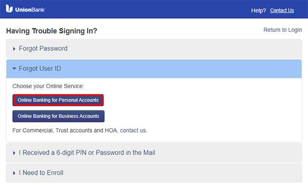 Union Bank Forgot User ID 2