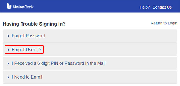 Union Bank Forgot User ID