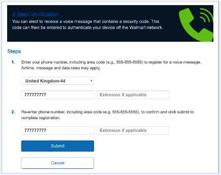 Walmartone 2 Step Verification via Voice Call